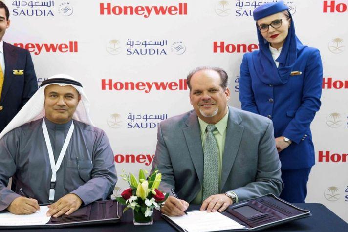 Saudia signing banner