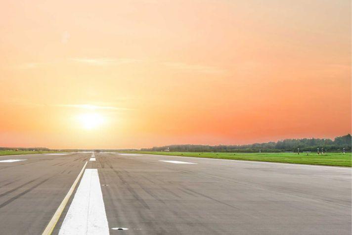 Sun over runway
