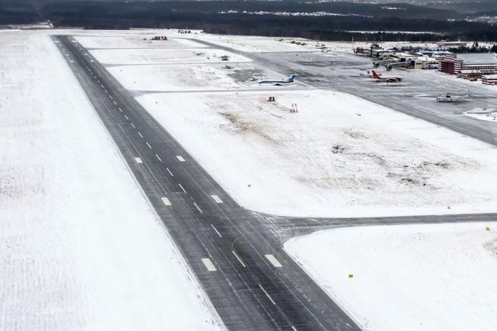 Runway snow winter