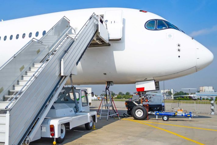 Ladder to the entrance of the aircraft