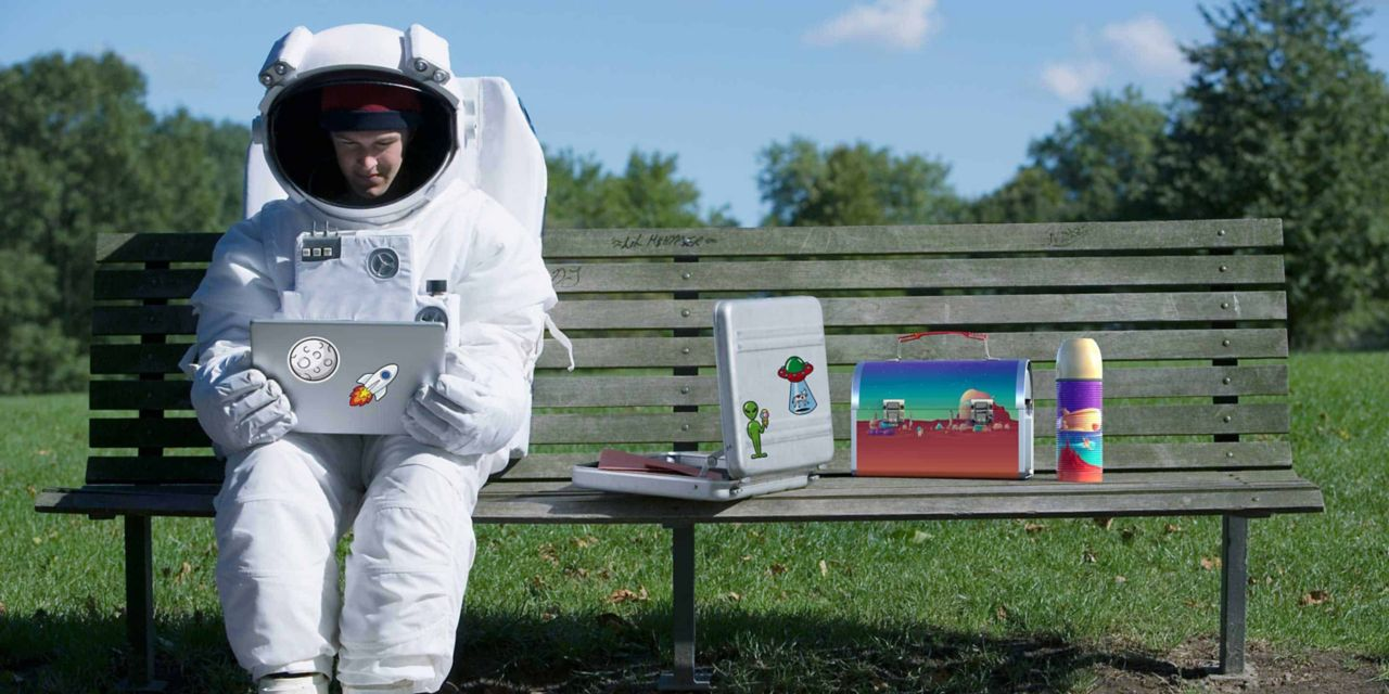 Astronaut on bench