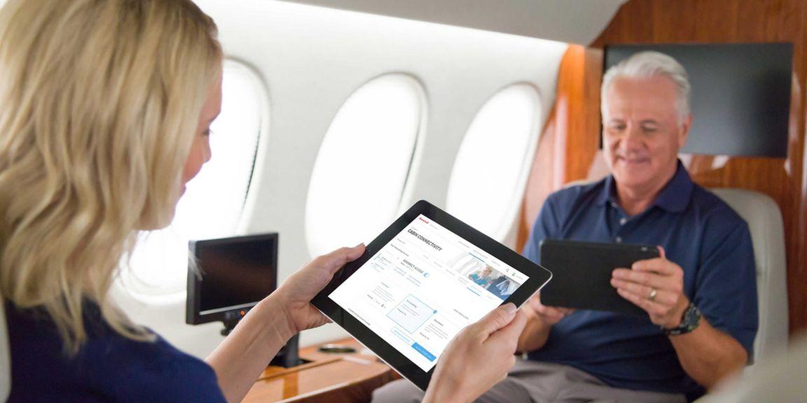 GoDirect  cabin  ipad  iphone  tablet  Flacon 7X  passengers  connectivity  cell phone  Sky Harbor  tug  hangar