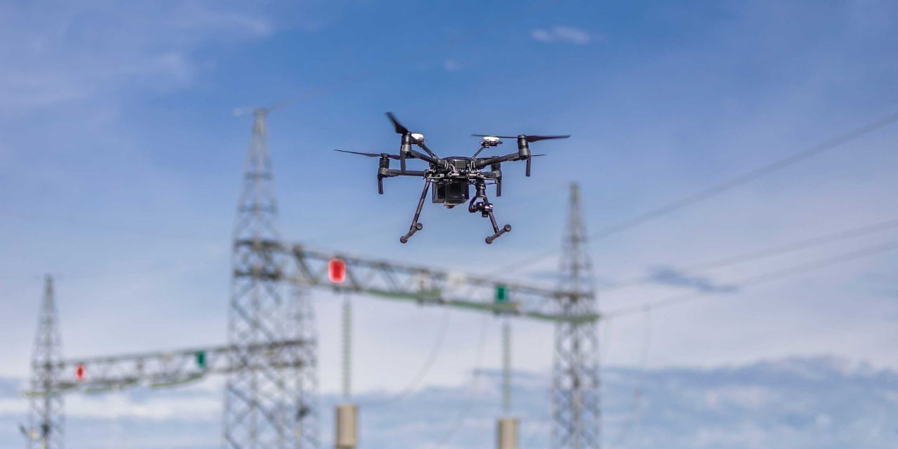 drone over power lines
