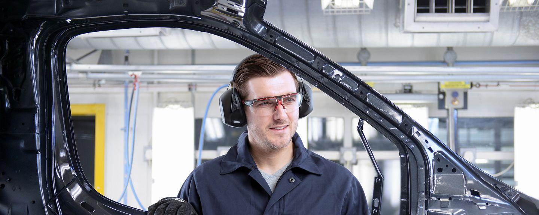 Man building car