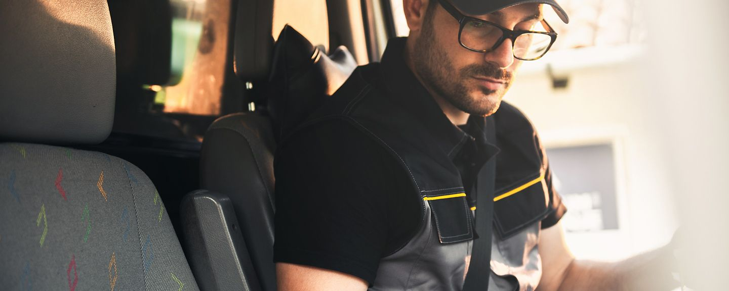 driver in a delivery van