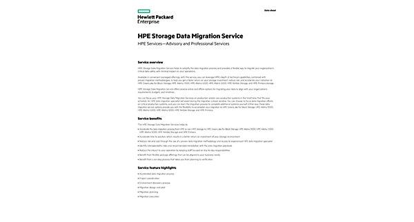 HPE 3PAR StoreServ Data Migration Service data sheet - US English