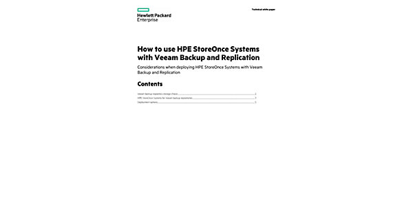 Guidance of the use of HPE StoreOnce Systems with Veeam