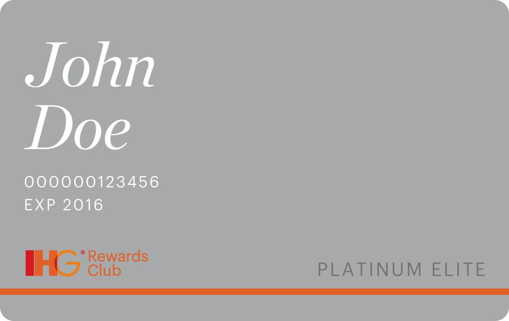 Карта Platinum Регистрация в IHG® Rewards Club