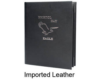 4 View Book Style Imported Leather Menu Cover, 8½x14