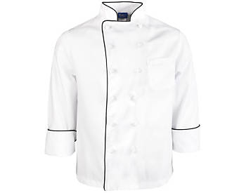 Executive Chef Coat with Black Piping