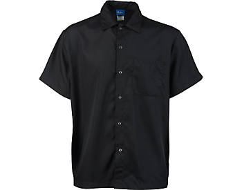 Super Lightweight Snap Front Cook Shirt, Black