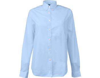 KNG® Womens Longer Tail Long Sleeve Oxford Shirt