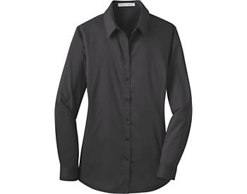 Womens Stretch Poplin Solid Dress Shirt