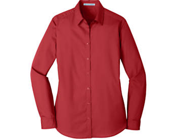 Womens Port Authority Carefree Poplin Shirt, Long Sleeve