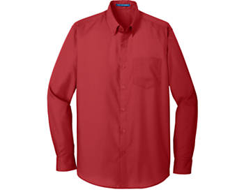 Mens Port Authority Carefree Poplin Shirt, Long Sleeve