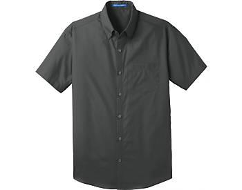 Mens Port Authority Carefree Poplin Shirt, Short Sleeve
