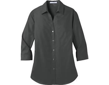 Womens Port Authority Carefree Poplin Shirt, 3/4 Sleeve