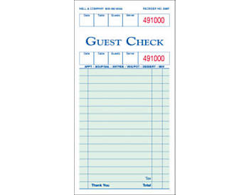 "Single, 3 ½"" by 6 ¾"", Padded Guest Checks (838P)"