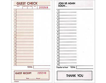 "Off-Spec, Single, Blank Right Side, 4¼"" by 8½"", Loose Guest Checks (670L)"