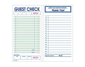 """Single, Small Green, 3⅜"""" by 6⅞"""", Padded Guest Checks (818P)"""