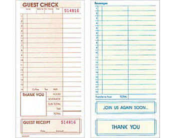 "Single, Standard, 4 ¼"" by 8 ½"", Guest Checks (690)"
