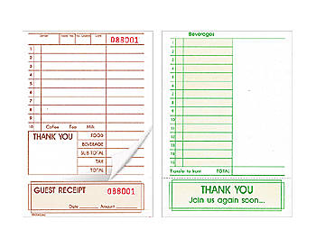 "Two-Part, Economy Sized, 4 ¼"" by 6 ½"", Guest Checks (660)"
