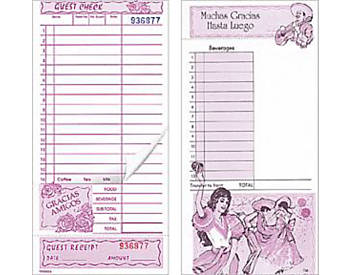 """Two-Part, Mexican, 4 ¼"""" by 9"""", Guest Checks (720)"""