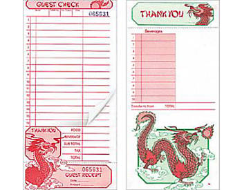 "Two-Part, Oriental,  4 ¼"" by 9"", Guest Checks (320)"