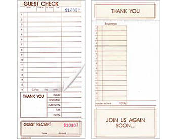 "Two-Part, Standard, 4 ¼"" by 9"", Guest Checks (620)"