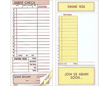 """Two-Part, Standard, Without Numbers, 4 ¼"""" by 9"""", Loose Guest Checks (620NN)"""