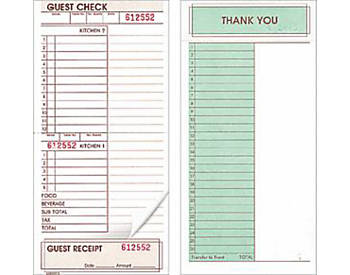 """Two-Part, Two Kitchen, Tear-Off, 4 ¼"""" by 9"""", Guest Checks (630)"""