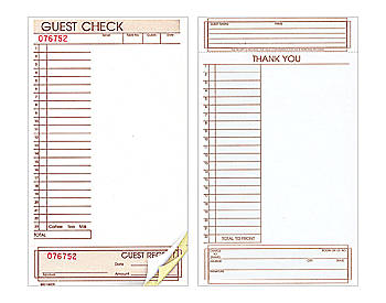 "Three-Part, Extra Wide, 5"" by 8 ½"", Loose Guest Checks (645)"