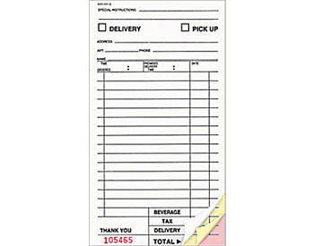"Three-Part, Large, Takeout Delivery, 4 ¼"" by 8"", Guest Checks (655)"