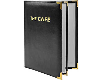 4 View Book Style Padded Faux Leather Menu Cover