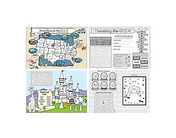 Childrens 2 Sided Coloring Placemats, 11 x 14