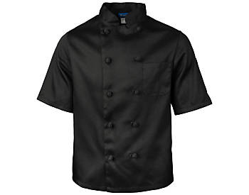 Black Classic Short Sleeve Chef Coat with Knotted Buttons