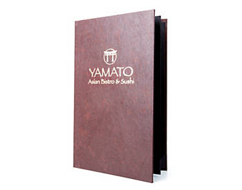 (MIN 25) 4 View Book Style Value Leatherette Casebound Menu, 8½ x 14, Dark Brown