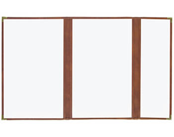 (PKG of 10) Double + Half Cafe Menu Cover, 8½x14, Brown with Gold Corners