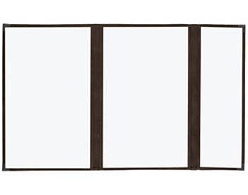 (PKG of 10) Double + Half Cafe Menu Cover, 8½x14, Mahogany