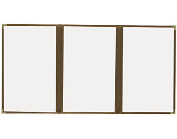 (PKG of 10) Triple Pocket Cafe Menu Cover, 8½x14, Brown with Gold Corners