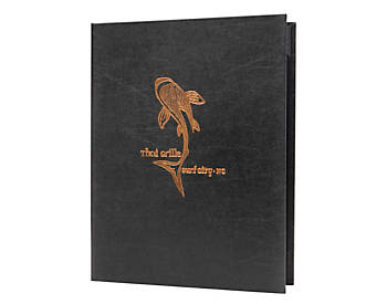 (MIN 25) Double Pocket Value Leatherette Casebound Menu, 8½ x 11, Black