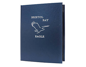 Double Pocket Value Diamond Casebound Menu, 4¼ x 14, Metallic Dark Blue