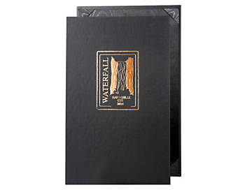 (MIN 25) Single Pocket Value Leatherette Casebound Menu, 8½ x 14, Black