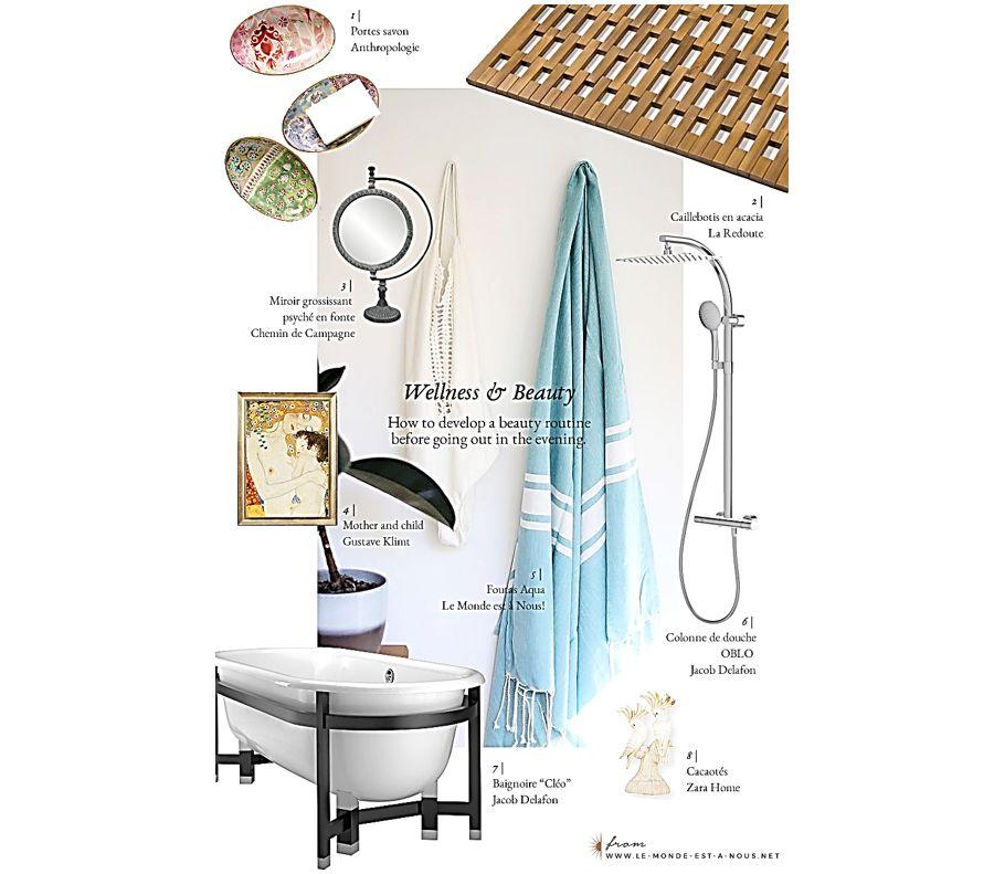 La baignoire Cléo et les accessoires de douche