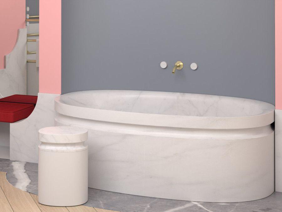 La baignoire Jacob Delafon en or et en marbre inventée par Alexis Mabille