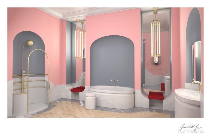 La salle de bains en marbre imaginée par Alexis Mabille