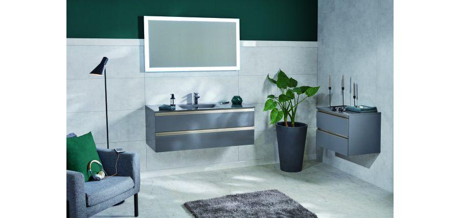 Une salle de bains avec un pot de plantes vertes posé au sol près d'un meuble vasque