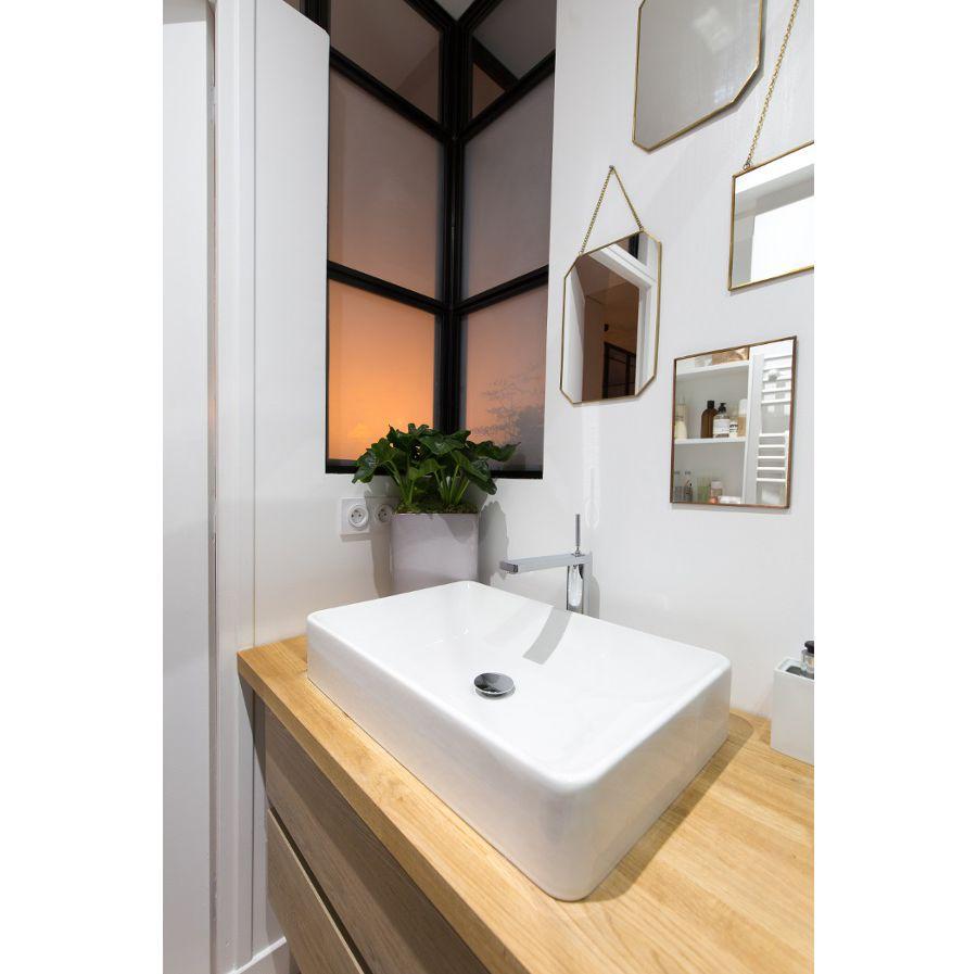 Une salle de bains avec une vasque décorée d'un petit pot de plante verte