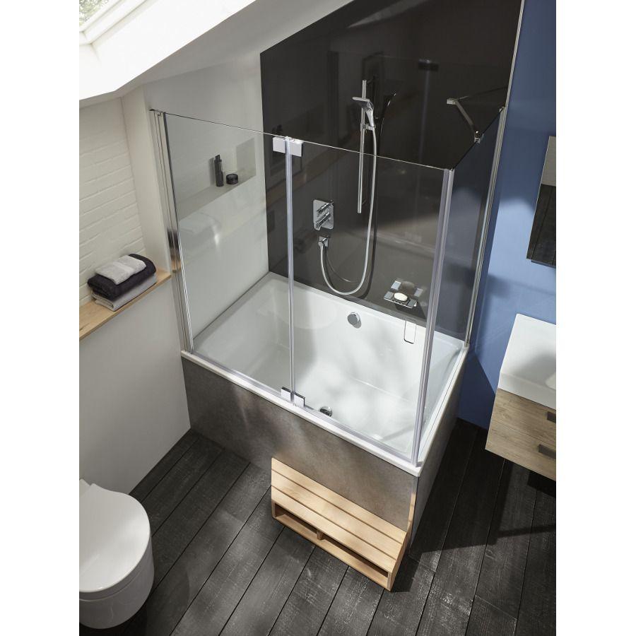 La baignoire bain douche en angle et asymétrique