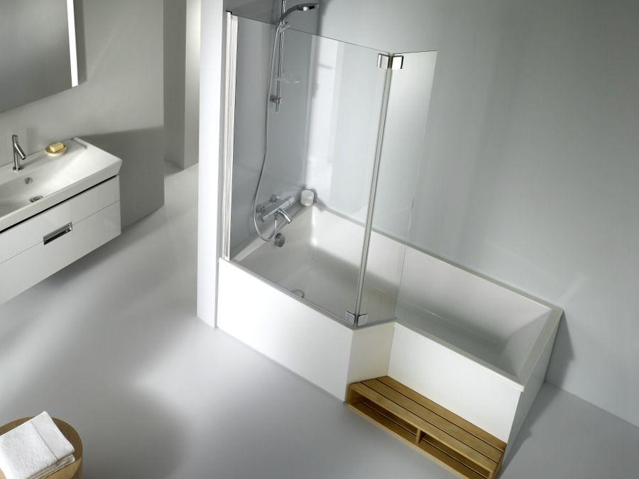 Baignoire bain douche blanc avec marche pied en bois